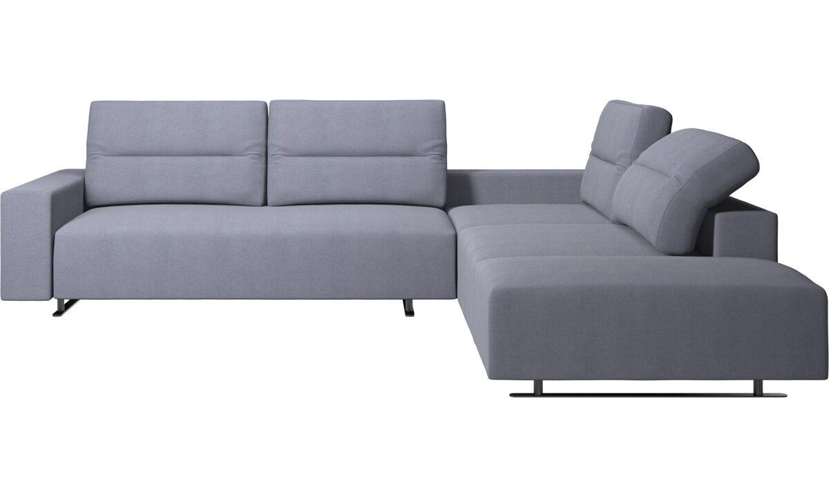 Sofás esquineros - Sofá esquinero Hampton con respaldo ajustable y módulo de descanso - En azul - Tela