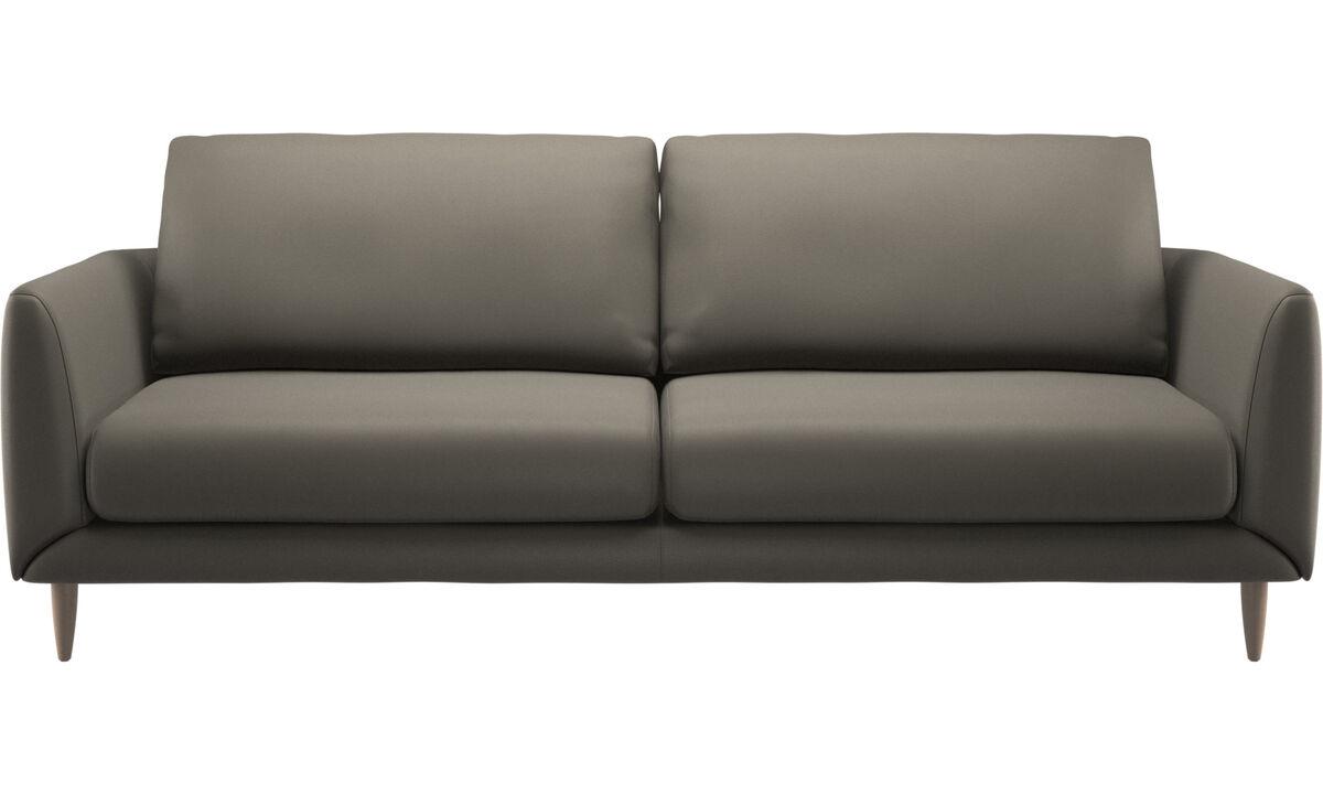 Sofás de 3 plazas - sofá Fargo - En gris - Piel