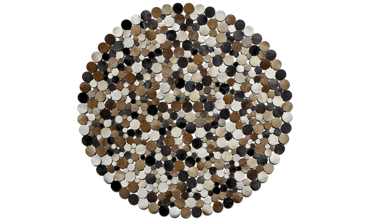 Leather rugs - Rondo rug - round - Brown - Leather