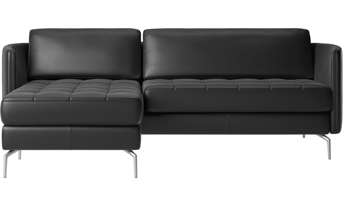 Chaise longue sofas - Osaka sofa with resting unit, tufted seat - Black - Leather