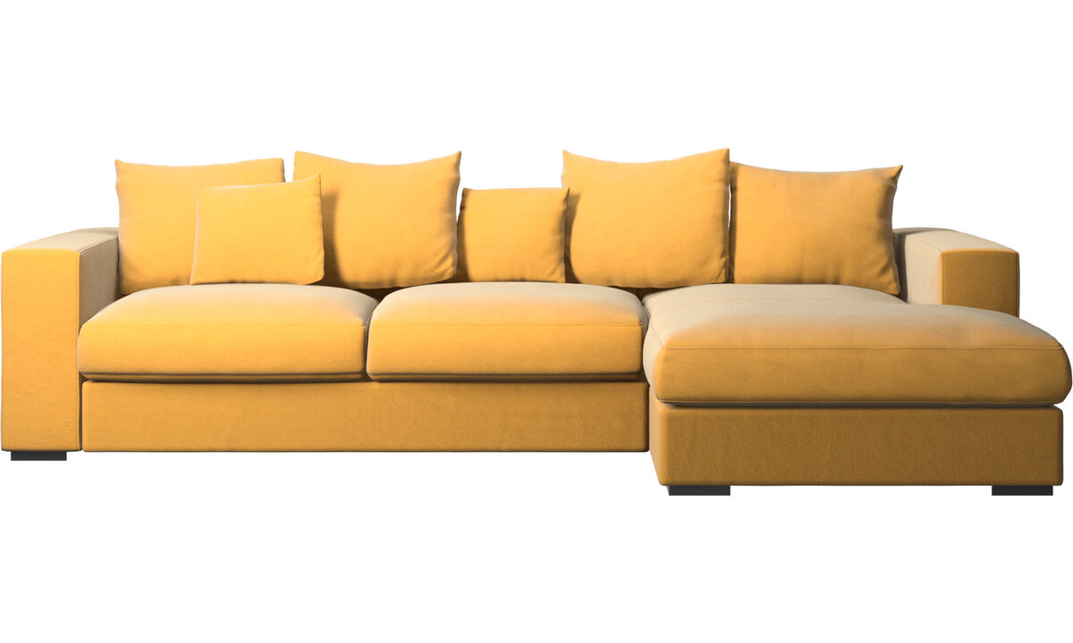 Chaise longue sofas - Cenova sofa with resting unit - Yellow - Fabric