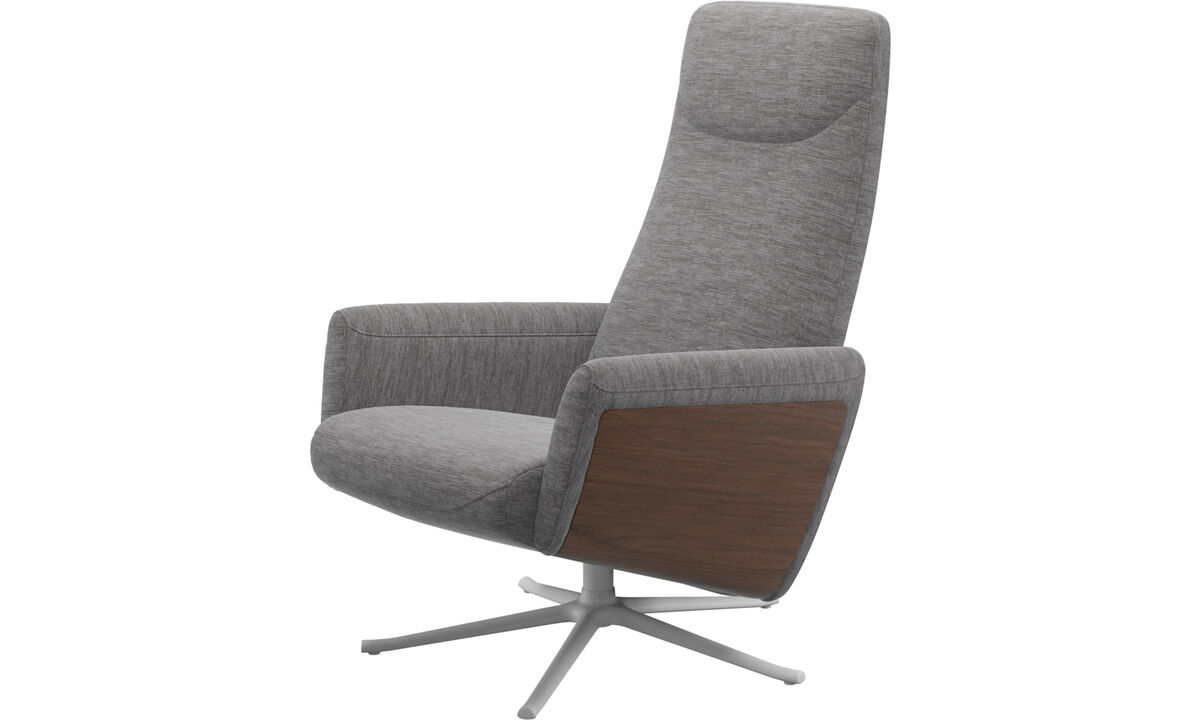 Recliners - Lucca recliner with swivel function - Grey - Fabric