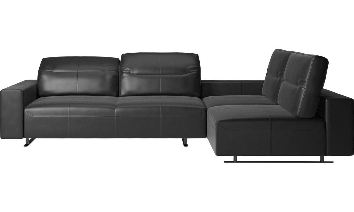 Sofy narożne - Sofa narożna Hampton z regulowanym oparciem i schowkiem po lewej stronie - Czarny - Skóra