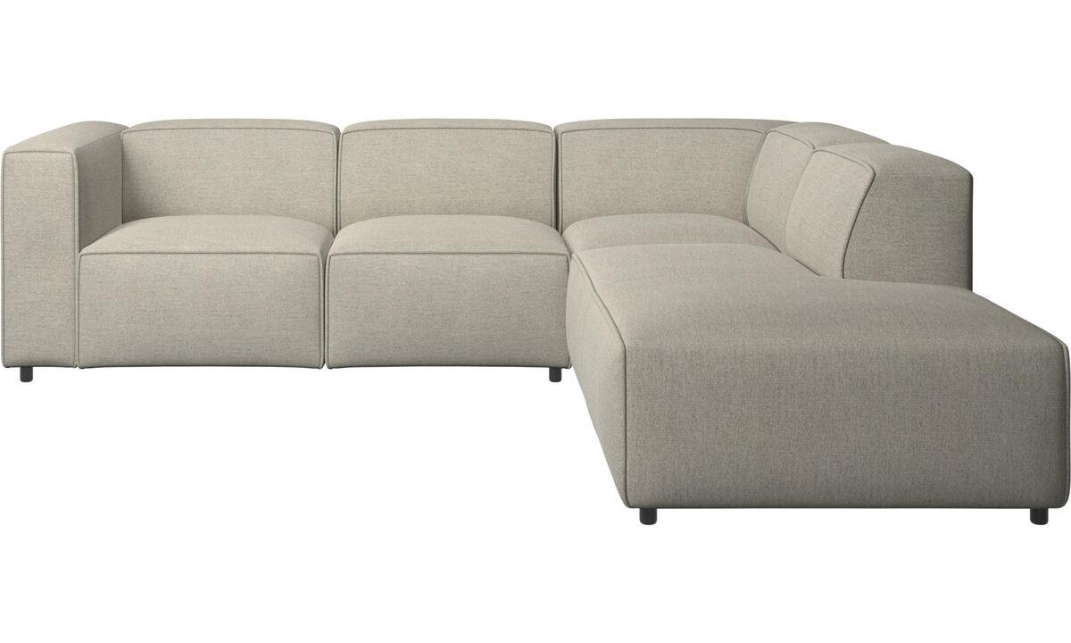 Sofás con chaise longue - Sofá esquinero Carmo con movimiento - En beige - Tela