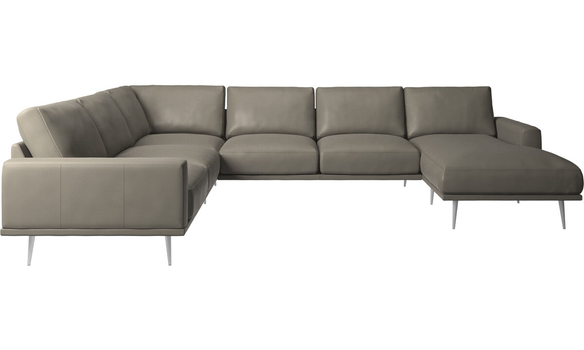 Corner sofas - Carlton corner sofa with resting unit - Grey - Leather