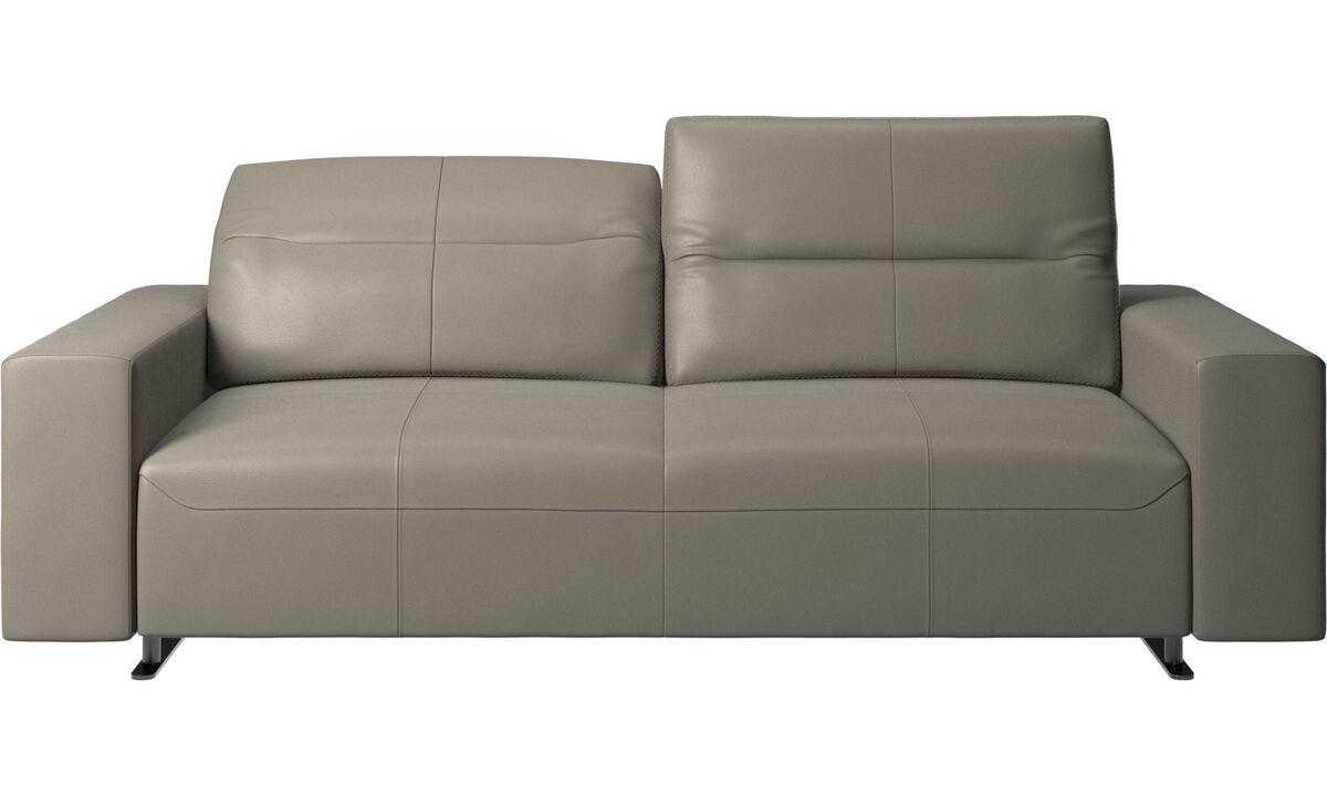 2.5 seater sofas - Hampton sofa with adjustable back - Grey - Leather