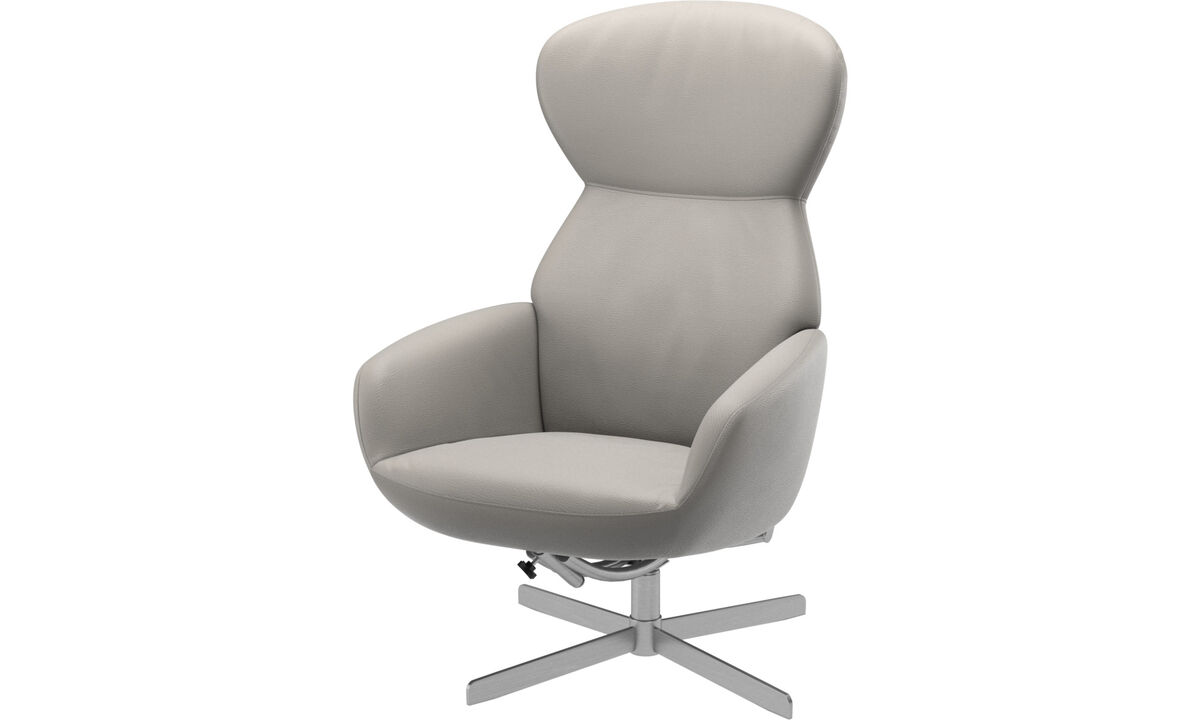 Armchairs and footstools - Athena chair with reclining back function and swivel base - Grey - Leather