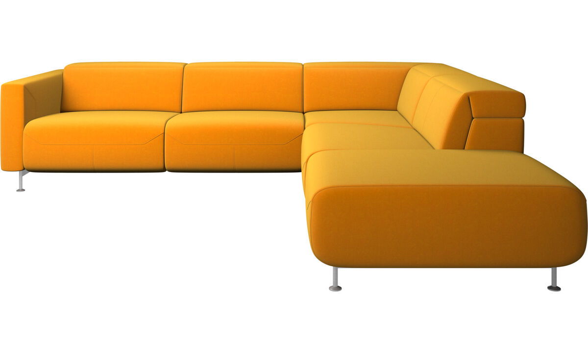 Recliner sofas - Parma reclining corner sofa with open end - Orange - Fabric