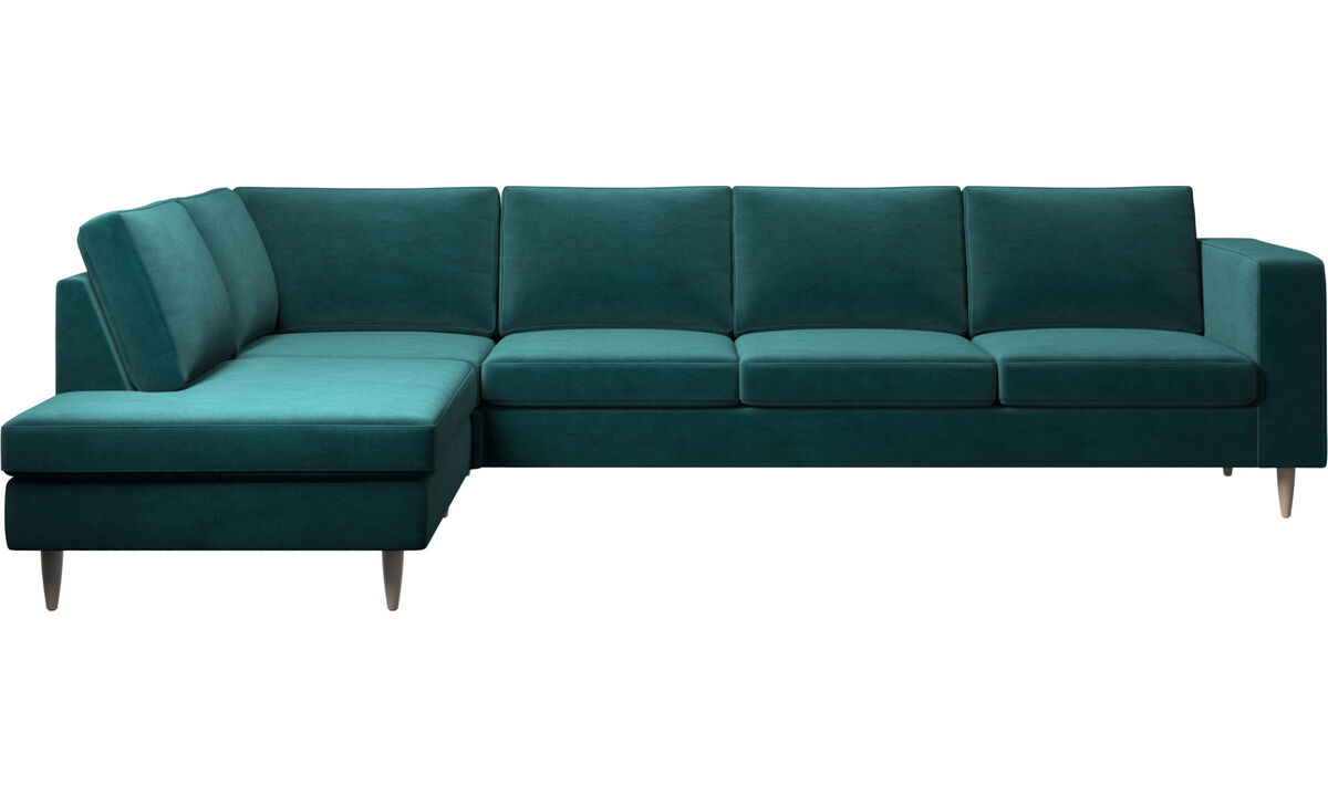 Sofas with open end - Indivi 2 corner sofa with lounging unit - Blue - Fabric