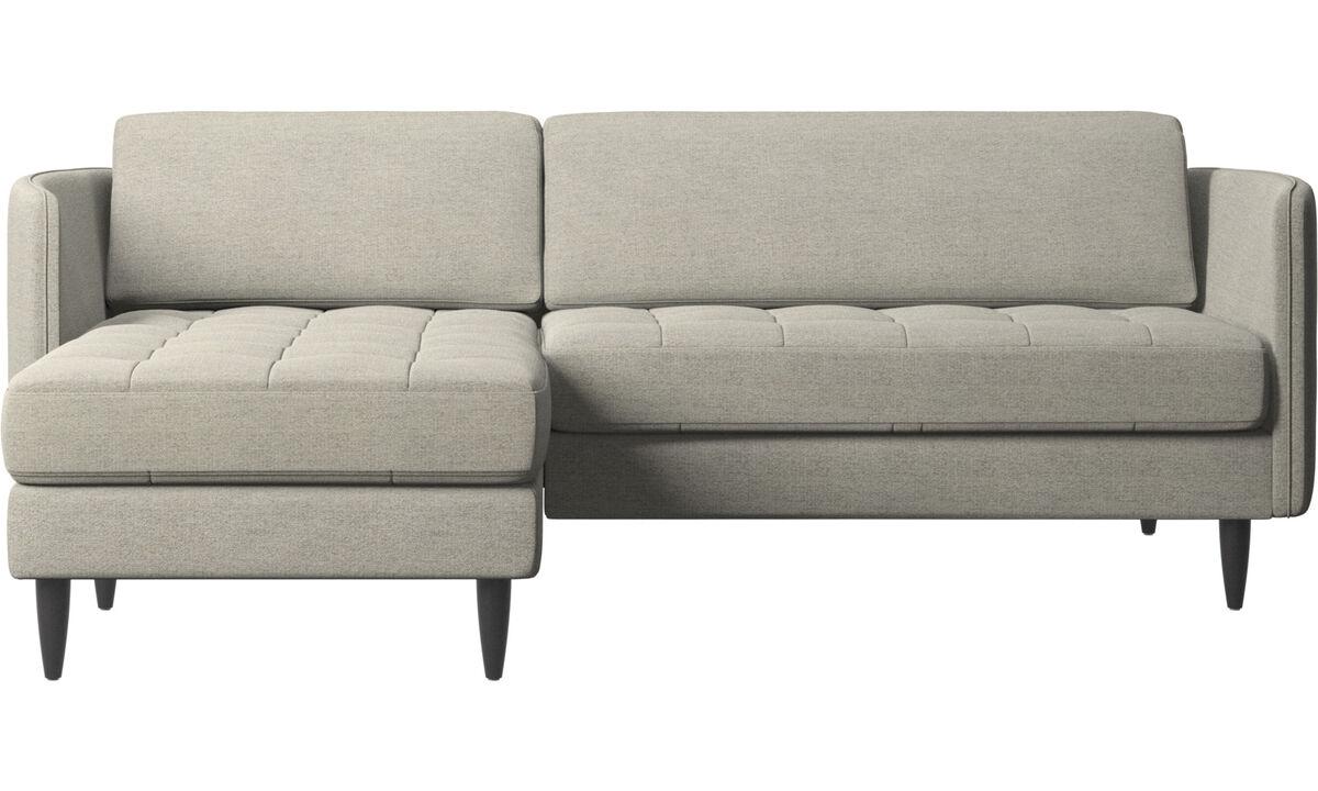 Sofás con chaise longue - sofá Osaka con módulo chaise-longue, asiento capitoné - En beige - Tela