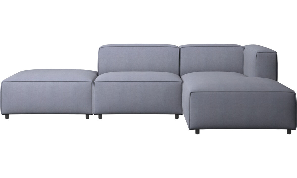 Chaise lounge sofas - Carmo sofa with lounging and resting unit - Blue - Fabric