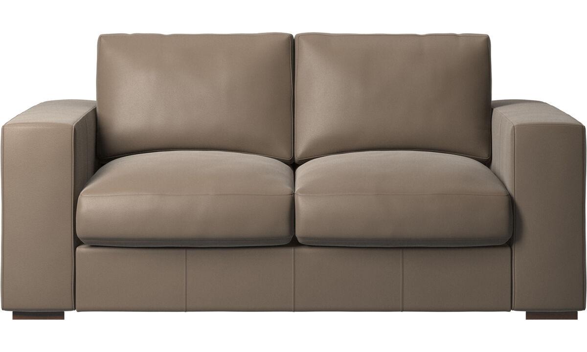 Sofás de 2 plazas - sofá Cenova - En gris - Piel