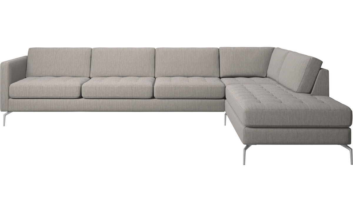 New designs - Osaka corner sofa with lounging unit, tufted seat - Grey - Fabric