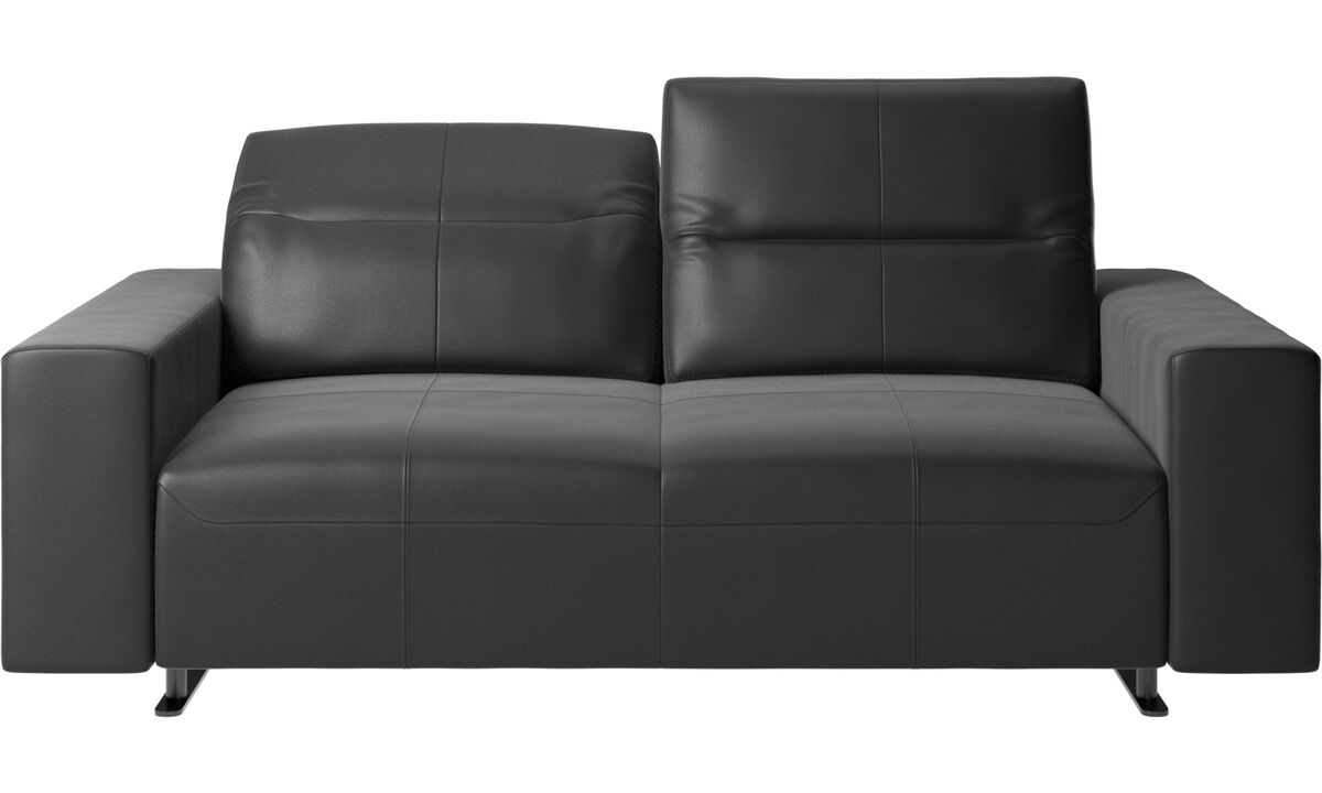 2 seater sofas - Hampton sofa with adjustable back and storage on the right side - Black - Leather