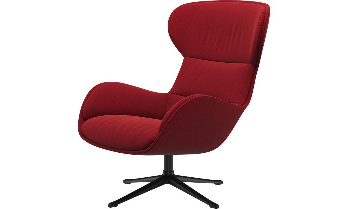Lænestole - Reno stol med drejefunktion - Rød - Stof