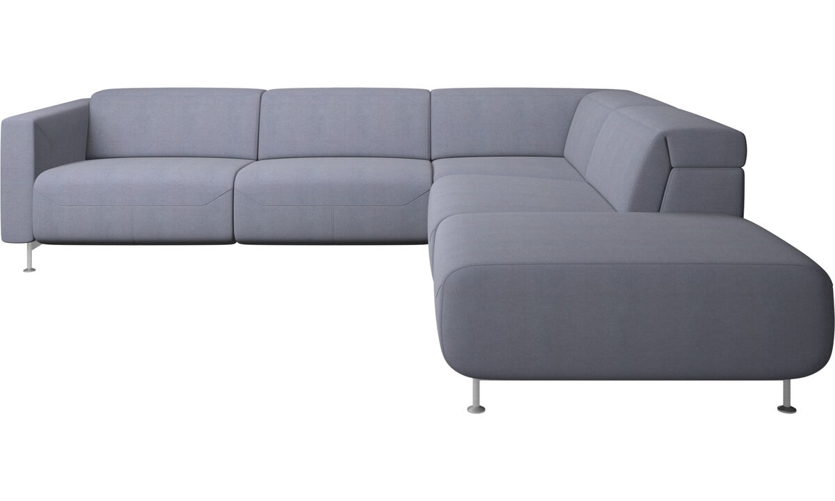 Recliner sofas - Parma reclining corner sofa with open end - Blue - Fabric