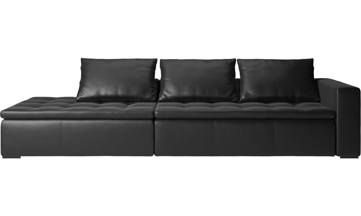 Sofas with open end - Mezzo divano con lounge - Nero - Pelle