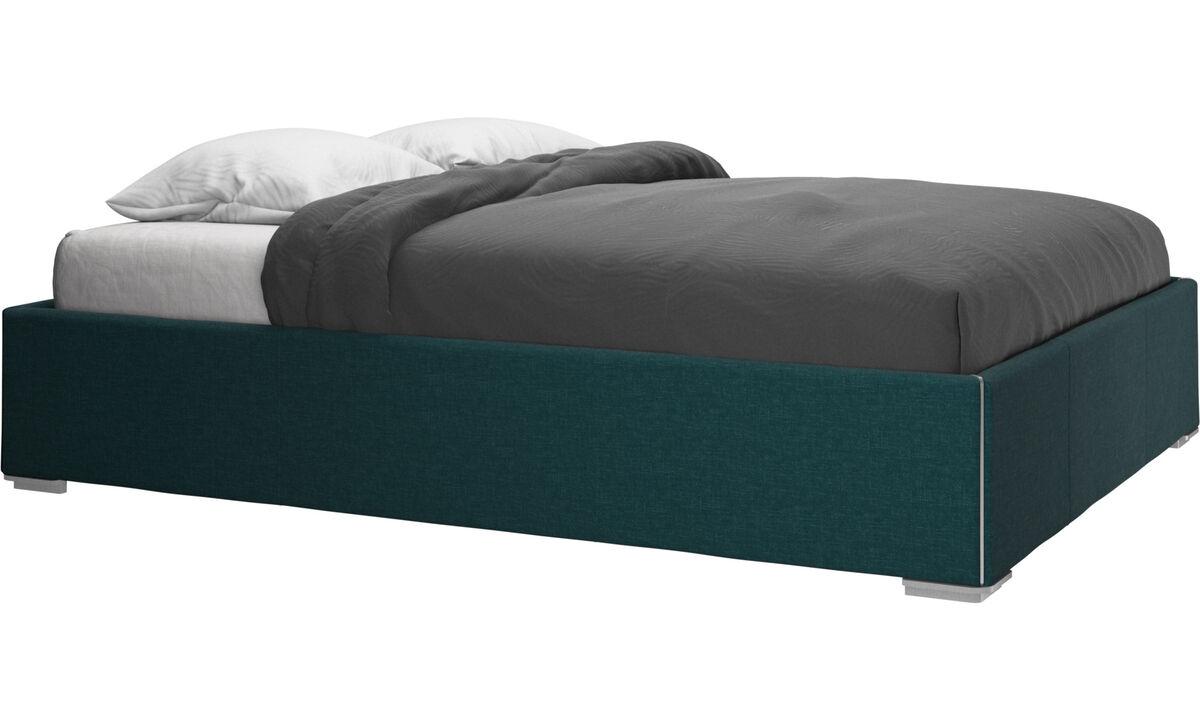 Sängar - Mezzo säng med förvaring. Upplyftbar ram och ribbotten, exkl. Madrass - Blå - Tyg