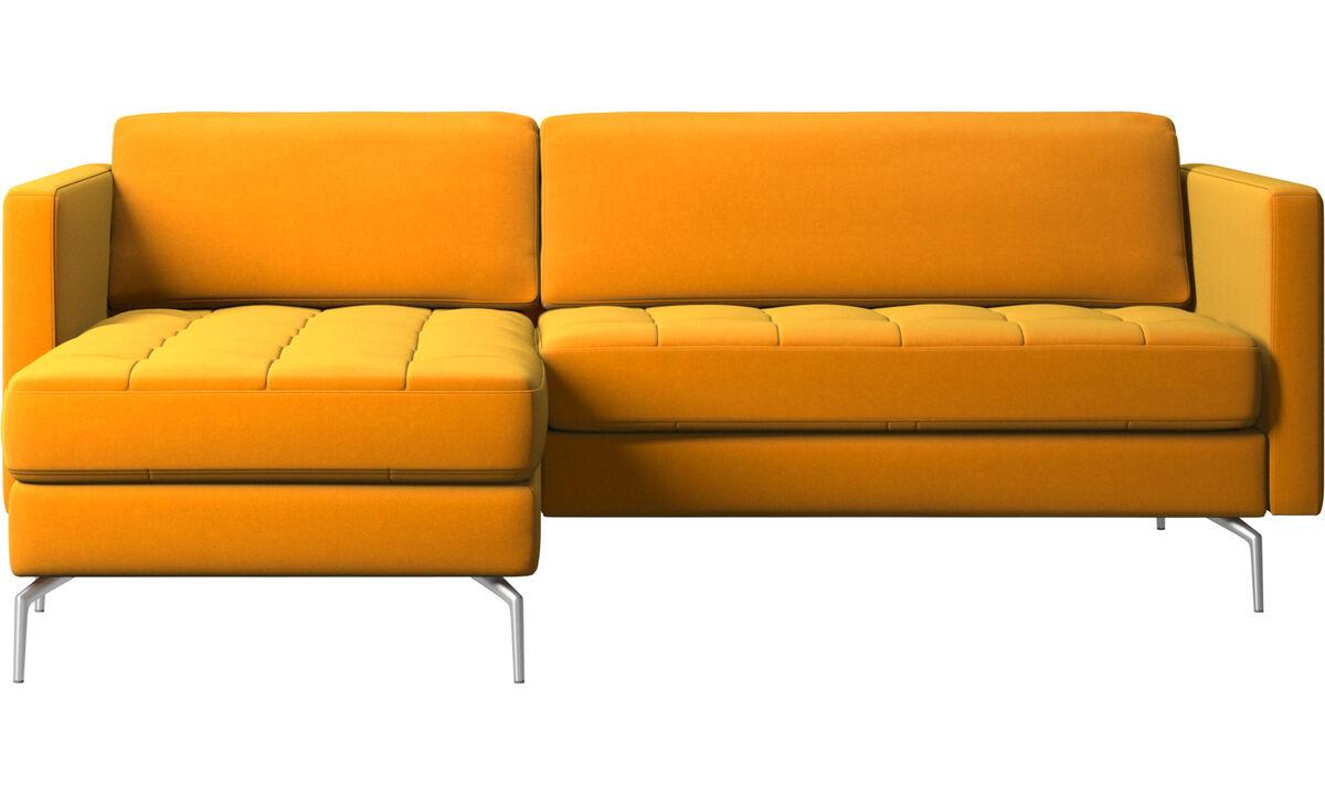 Sofás con chaise longue - sofá Osaka con módulo chaise-longue, asiento capitoné - Naranja - Tela