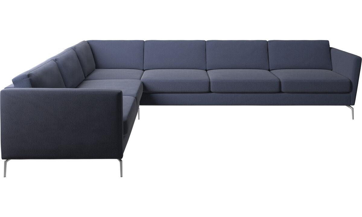 Canapés d'angle - canapé d'angle Osaka, assise classique - Bleu - Tissu
