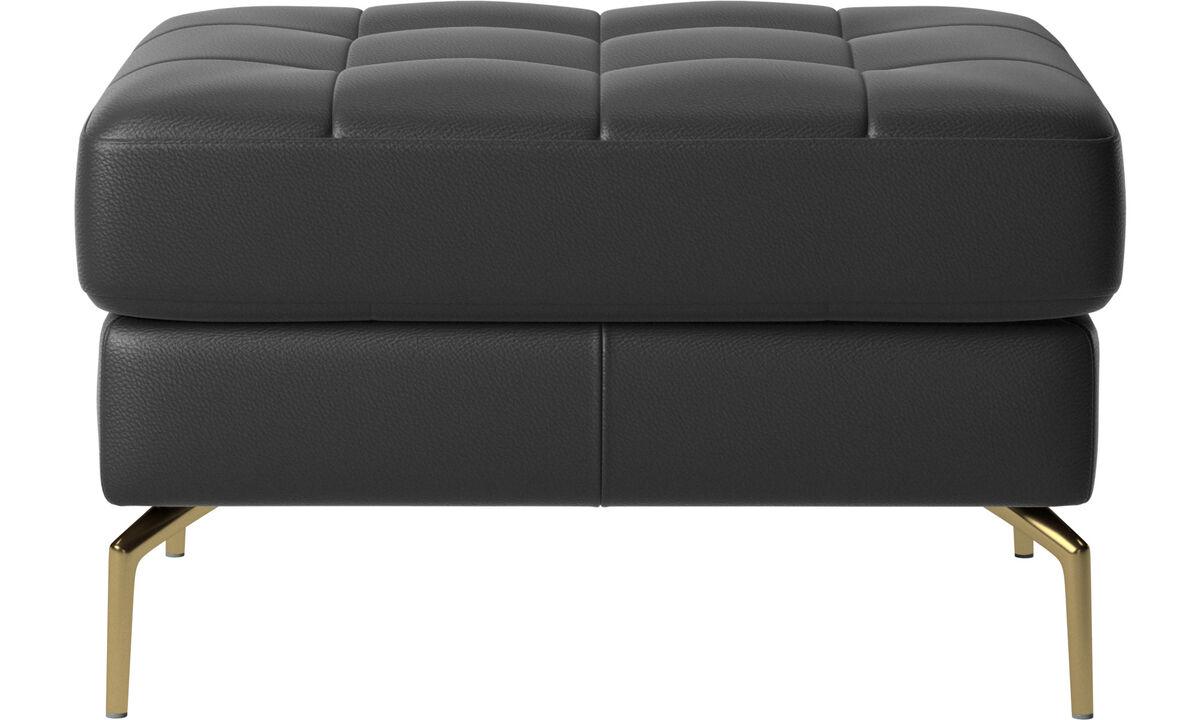 Ottomans - Osaka footstool, tufted seat - Black - Leather