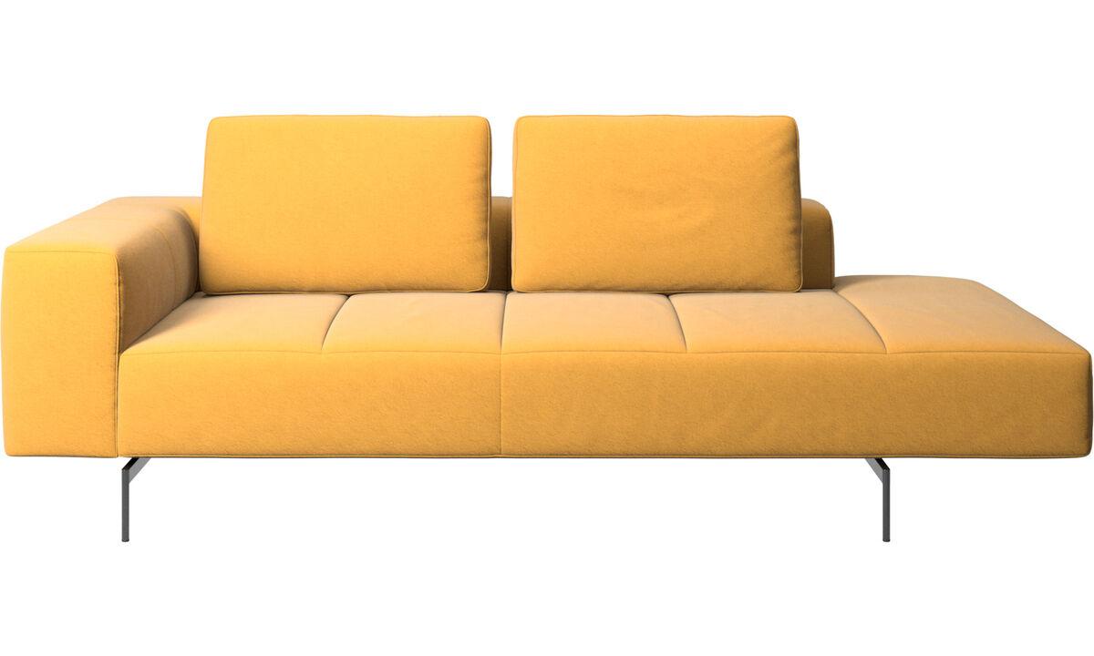 Sofás modulares - Módulo de descanso para sofá Amsterdam, reposabrazos izquierdo, lado derecho abierto - En amarillo - Tela