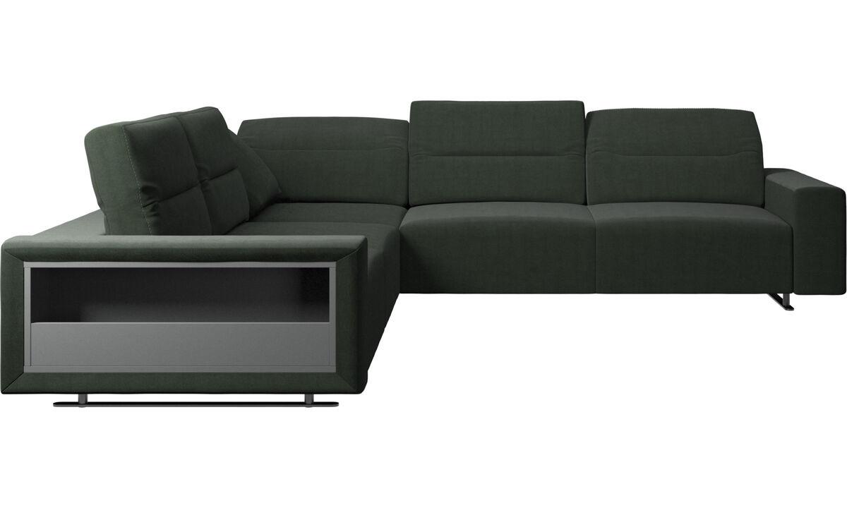 Sofás esquineros - Sofá esquinero Hampton con respaldo ajustable y almacenamiento - En verde - Tela