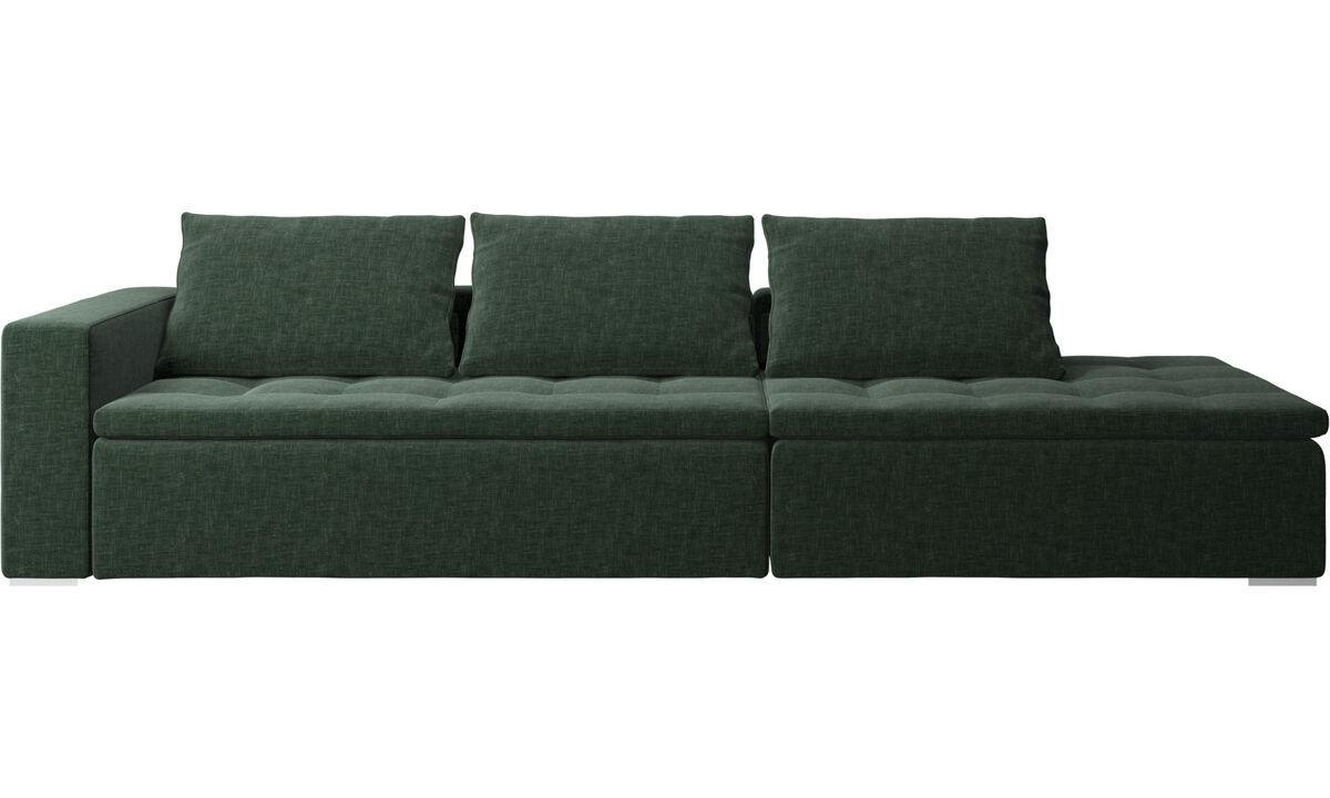 Sofás con lado abierto - sofá Mezzo con módulo de descanso - En verde - Tela
