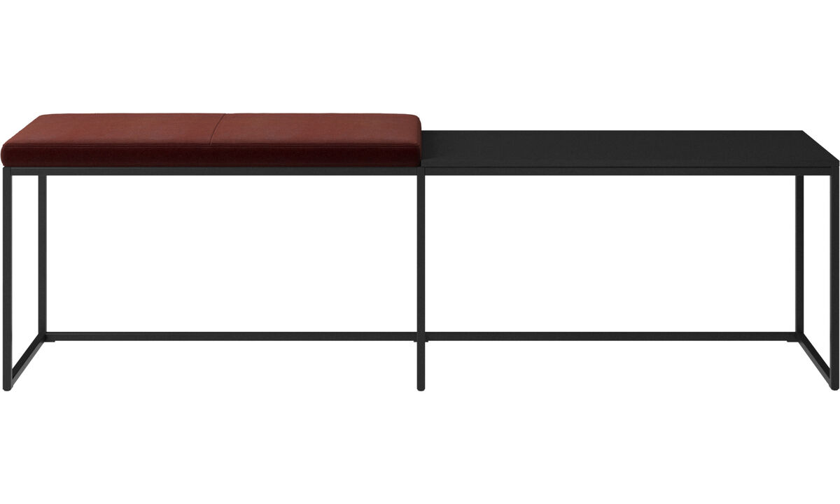 Benches - London large bench with cushion and shelf - Red - Fabric