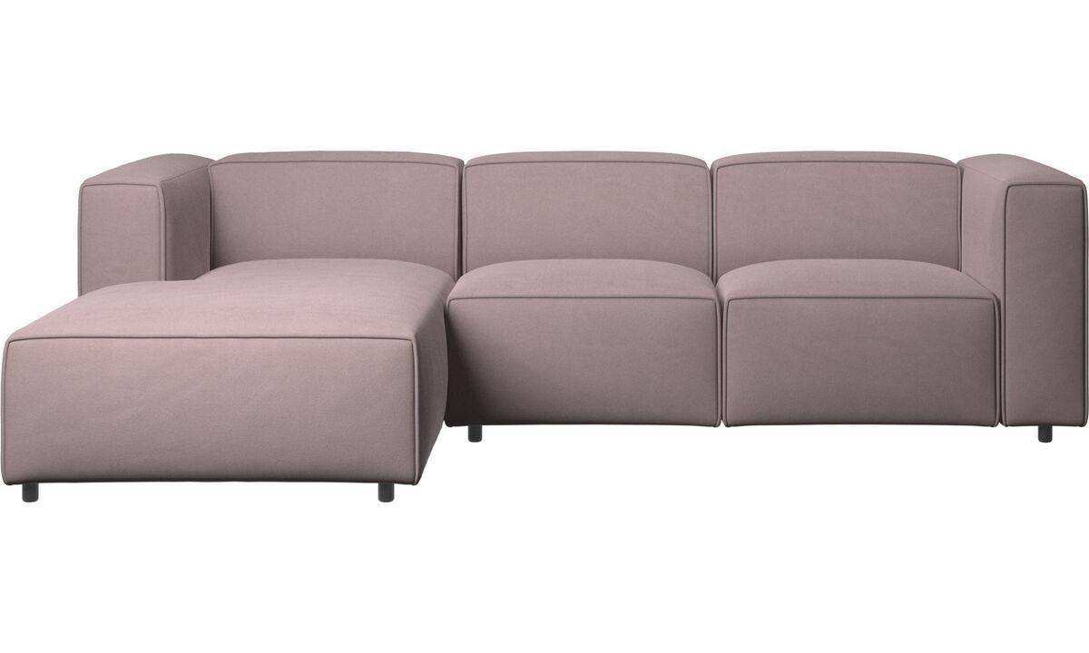 Sofás reclinables - Sofá Carmo con movimiento y módulo de descanso - Morado - Tela