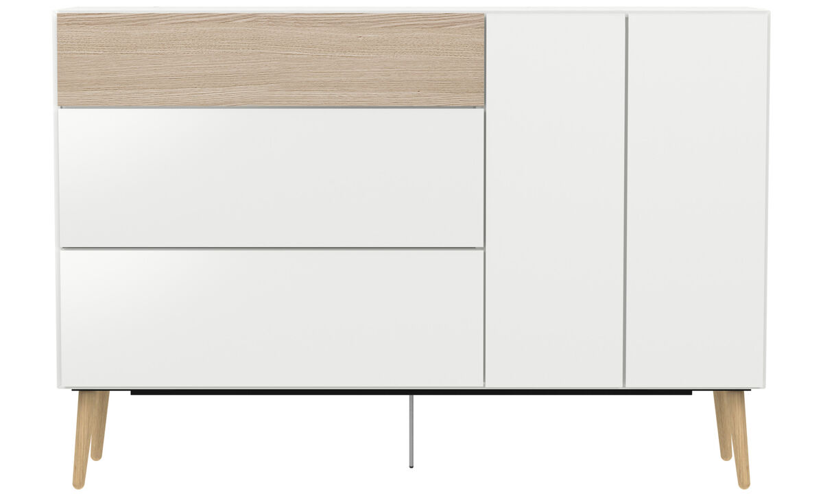 Sideboards - Lugano highboard with drawers and drop-down door - White - Lacquered