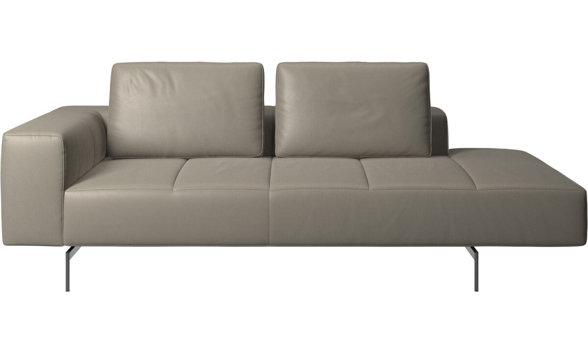 Modular sofas - Amsterdam resting module for sofa, armrest left, open end right - Grey - Leather