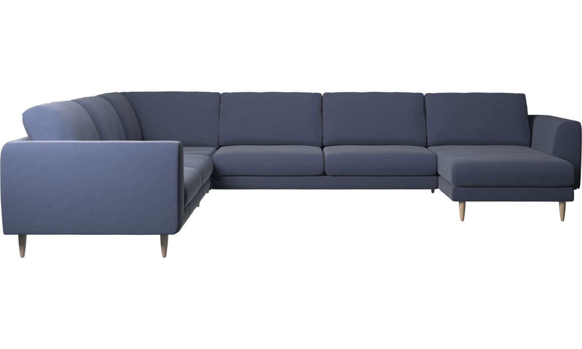 Chaise longue sofas - Fargo corner sofa with resting unit - Blue - Fabric