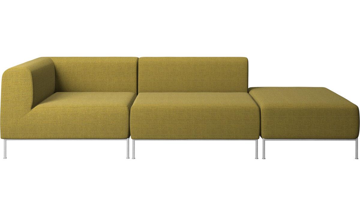 Modulære sofaer - Miami sofa med puf på højre side - Gul - Stof