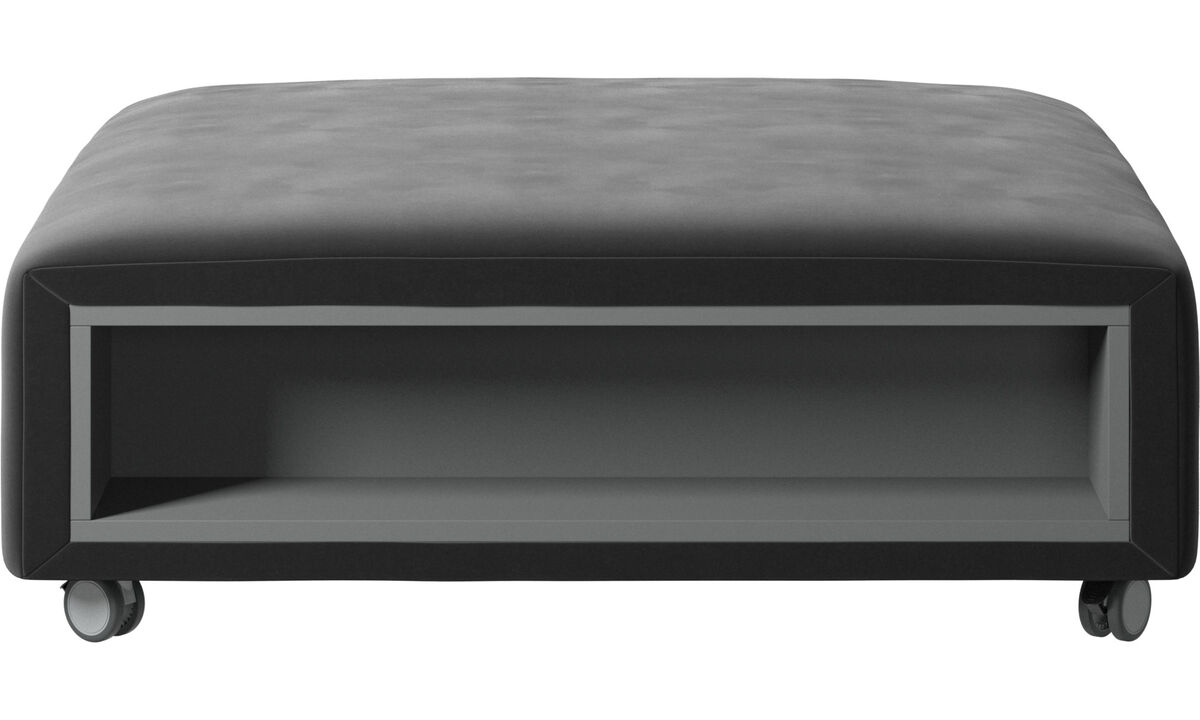 Ottomans - Hampton pouf on wheels with storage left and right sides - Black - Fabric