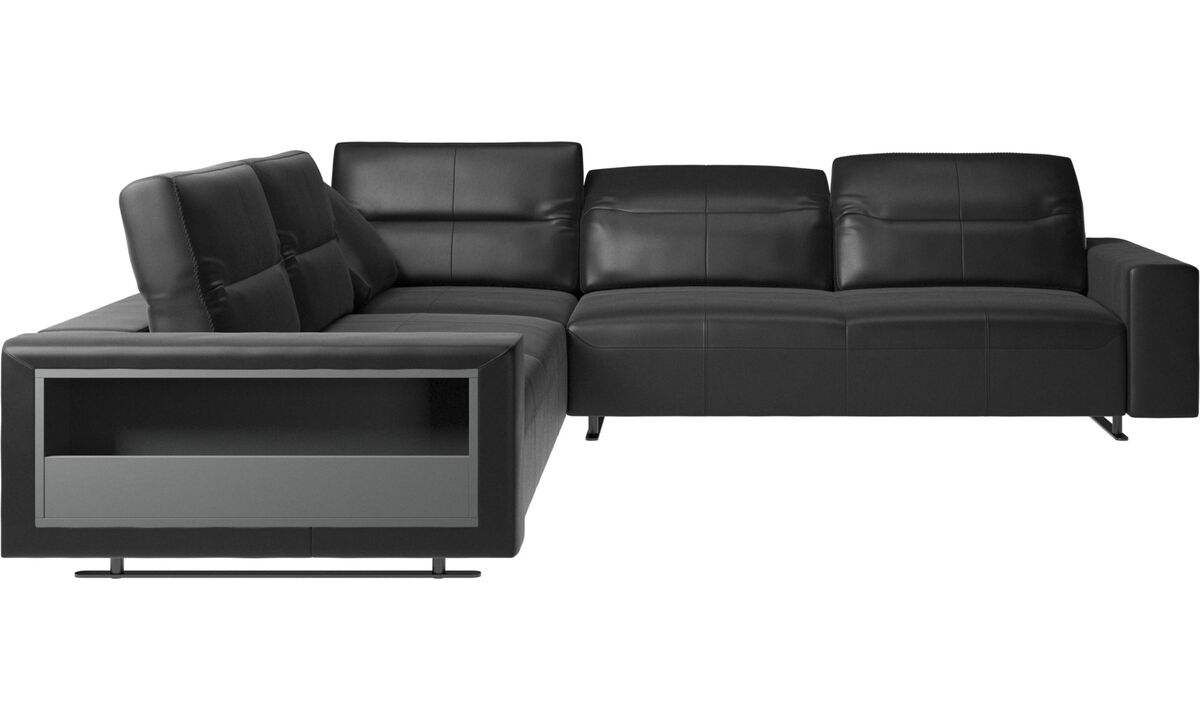New designs - Hampton corner sofa with adjustable back and storage - Black - Leather