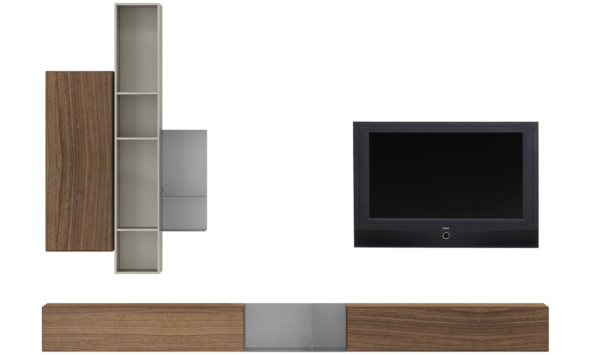 Wall systems - Lugano wall mounted wall system with drop down doors - White - Walnut