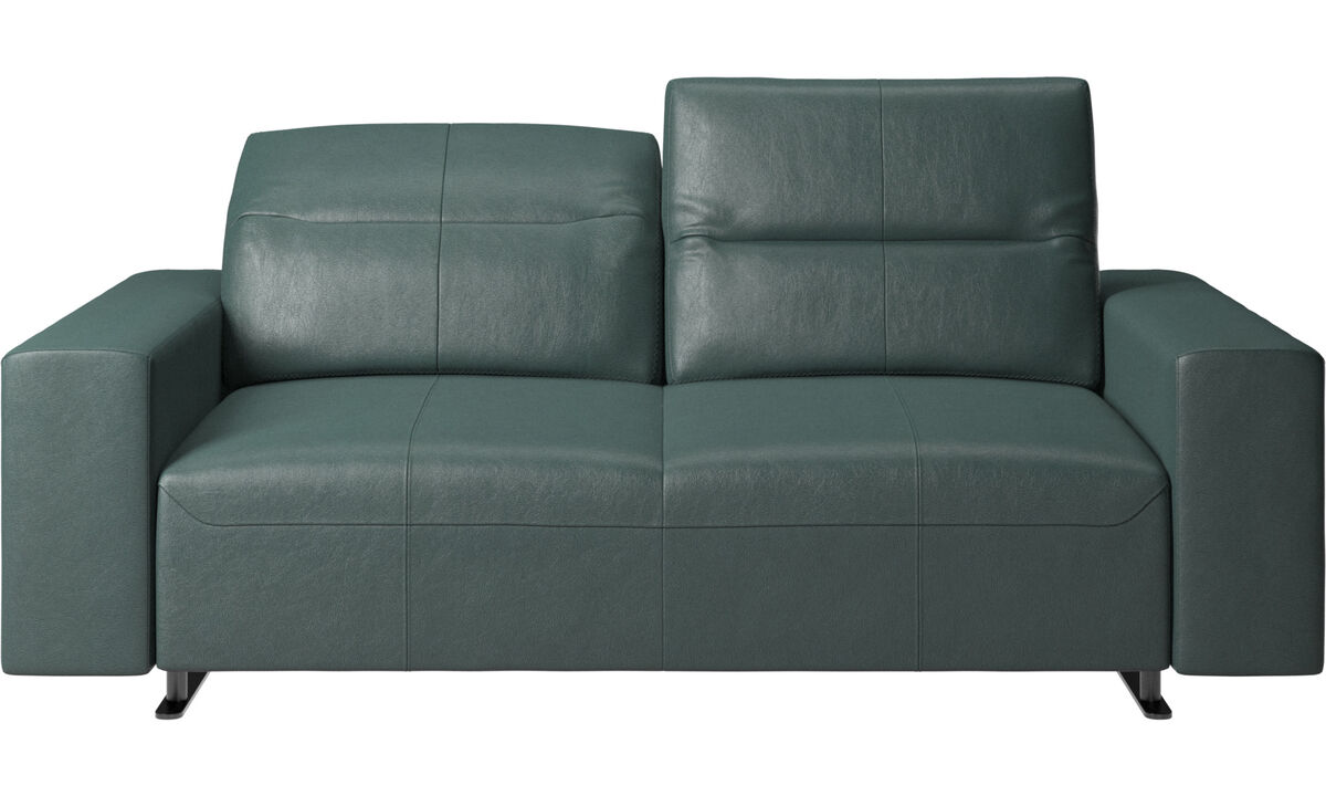2 seater sofas - Hampton sofa with adjustable back and storage on the right side - Green - Fabric