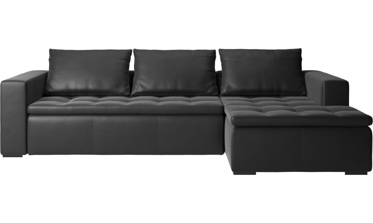 Chaise lounge sofas - Mezzo sofa with resting unit - Black - Leather