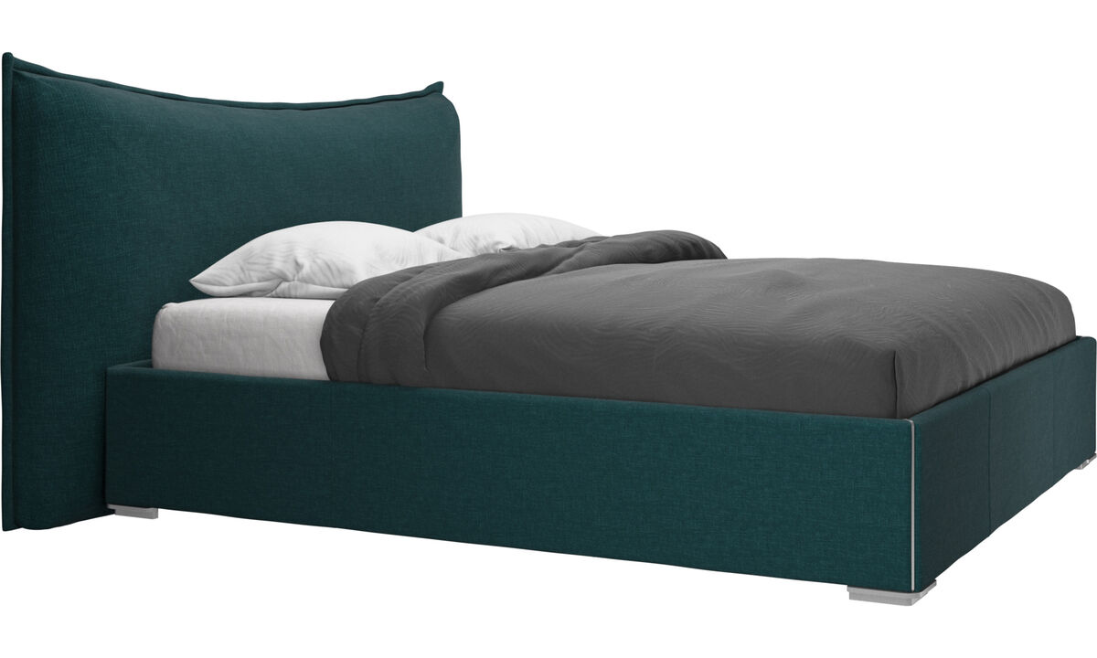 Beds - Gent storage bed with lift-up frame and slats, excl. mattress - Blue - Fabric