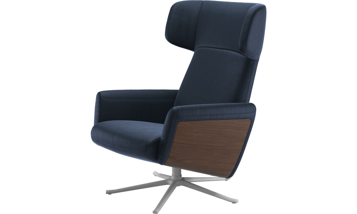 Recliners - Lucca wing recliner with swivel function - Blue - Leather