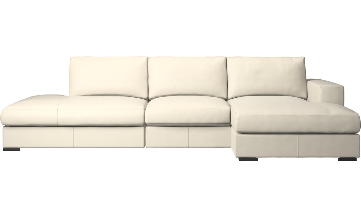 3 seater sofas - Cenova sofa with lounging and resting unit - White - Leather