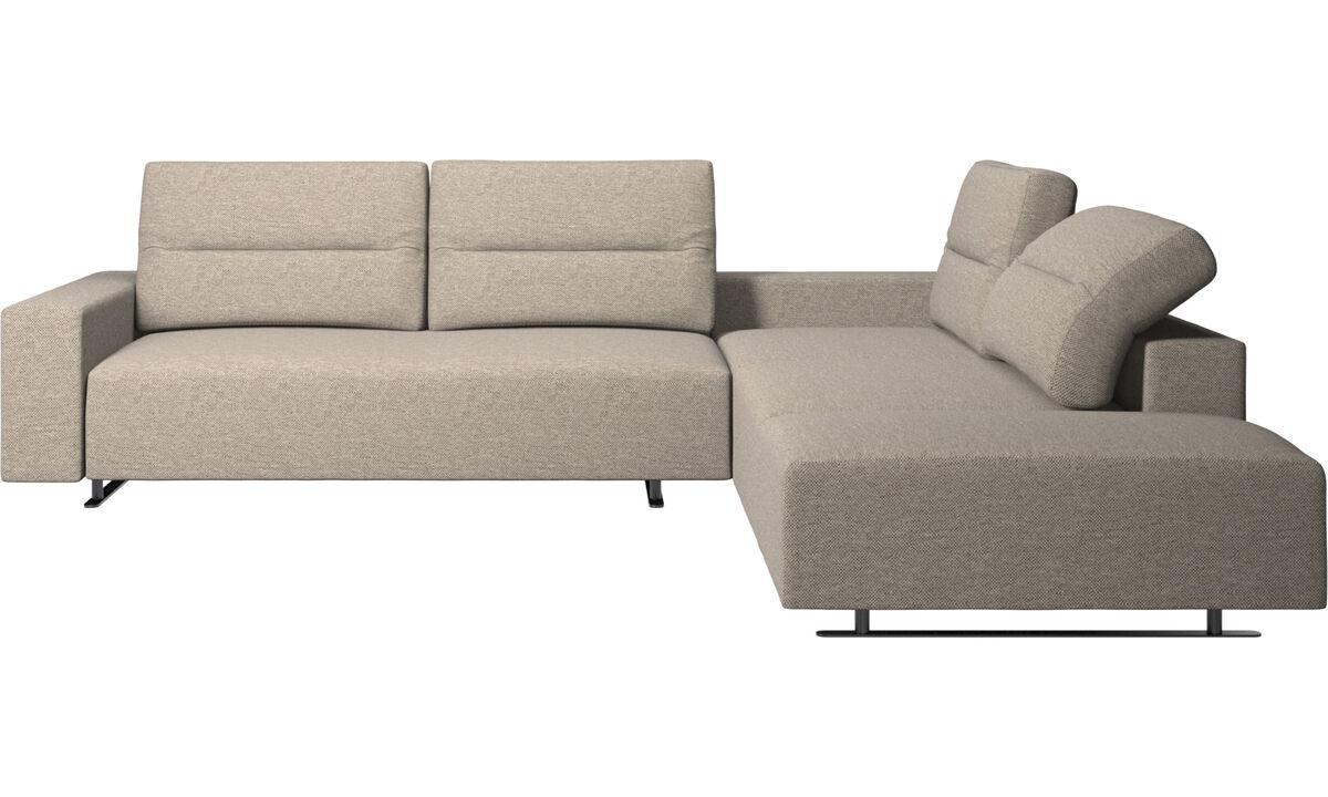 Corner sofas - Hampton corner sofa with adjustable back and lounging unit - Beige - Fabric