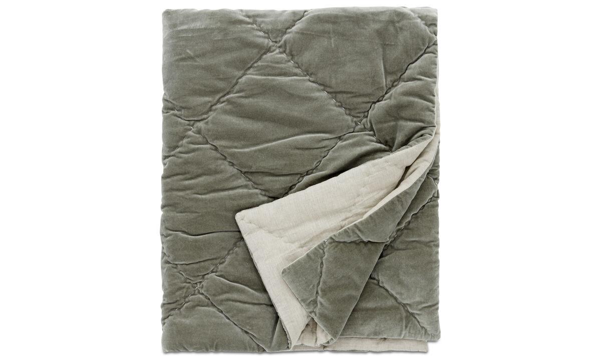 Throws & bedspreads - copriletto Pure - Verde - Tessuto