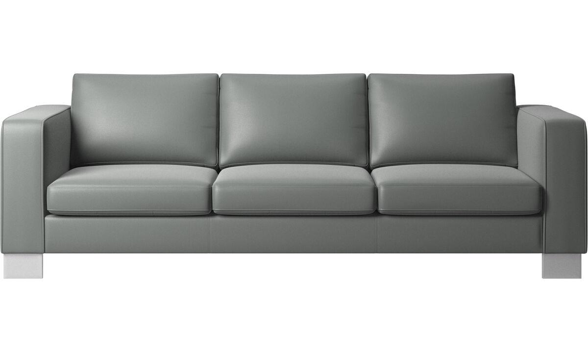 Sofás de 3 plazas - sofá Indivi 2 - En gris - Piel