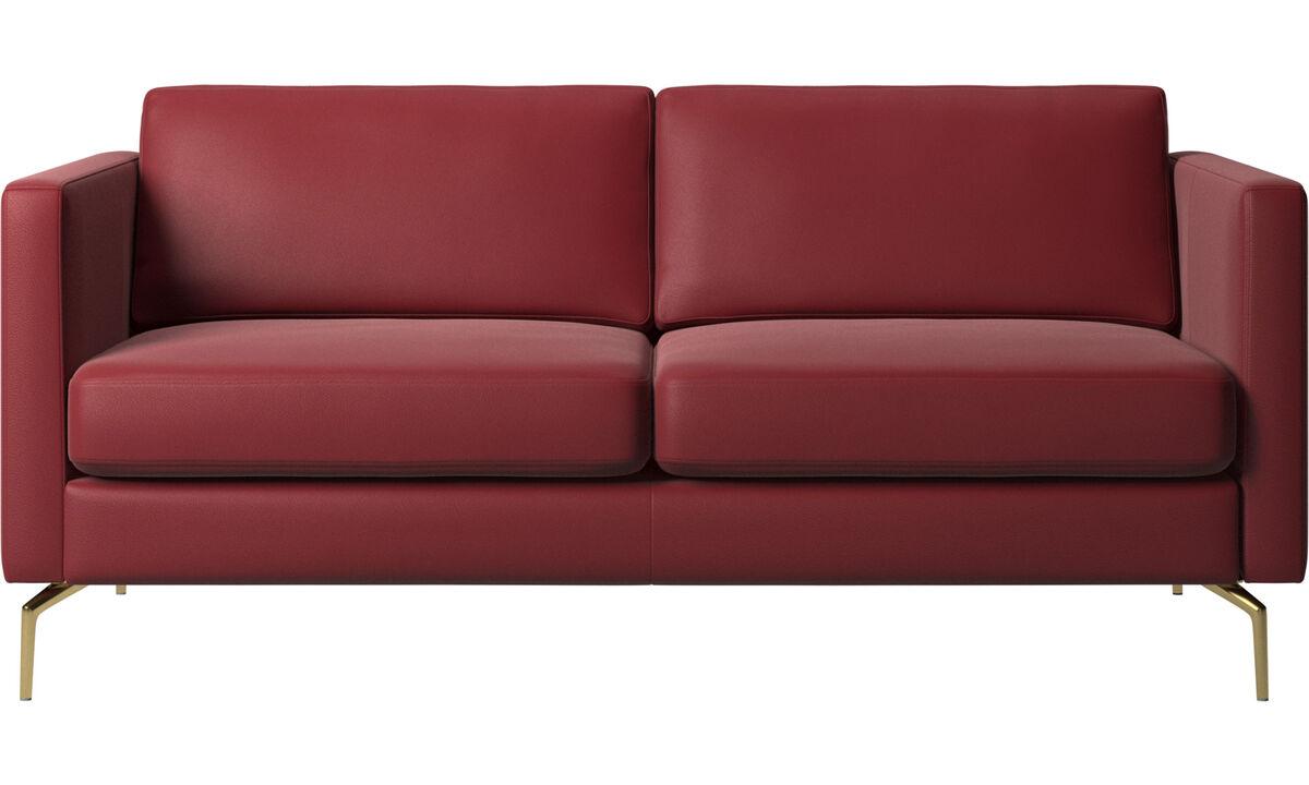 Canapés 2 places - canapé Osaka, assise classique - Rouge - Cuir