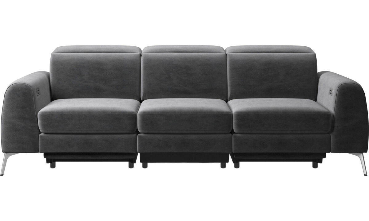 New designs - Madison sofa with electric seat, head and foot rest motion (transformer and cable plug-in included) - Gray - Fabric