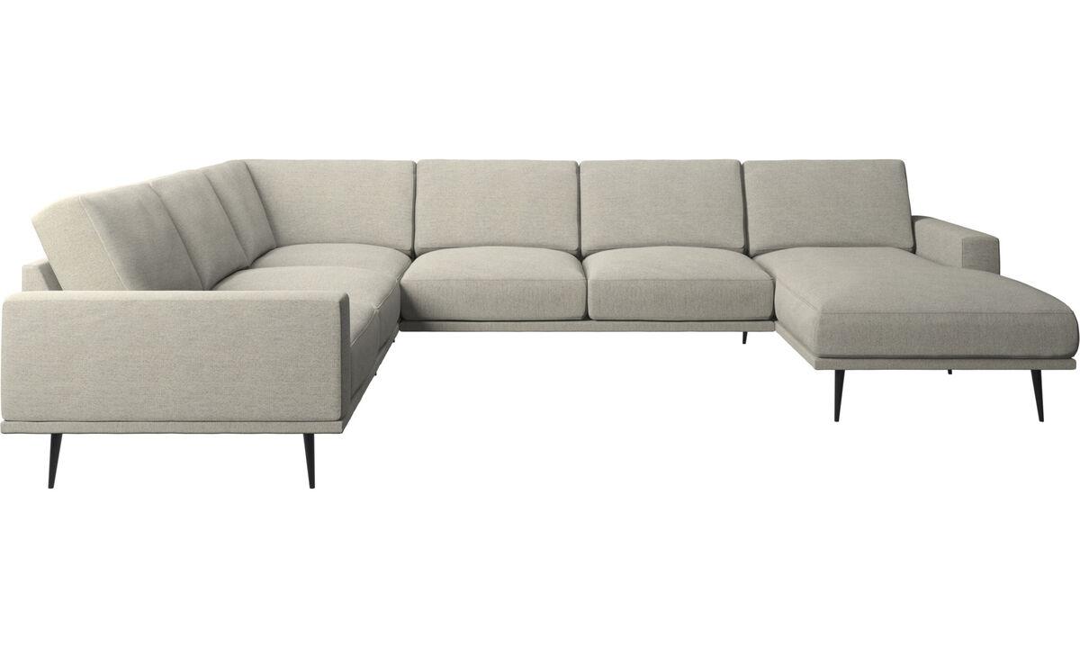 Chaise lounge sofas - Carlton corner sofa with resting unit - Beige - Fabric