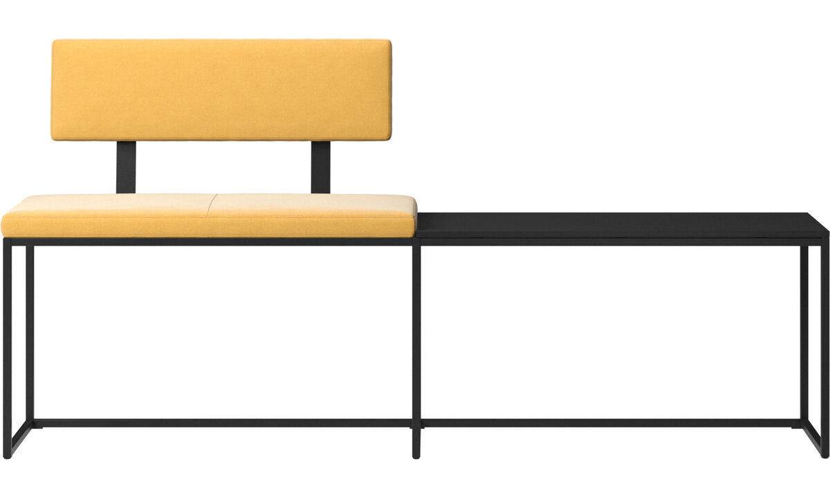 Benches - London large bench with cushion, shelf and backrest - Yellow - Fabric