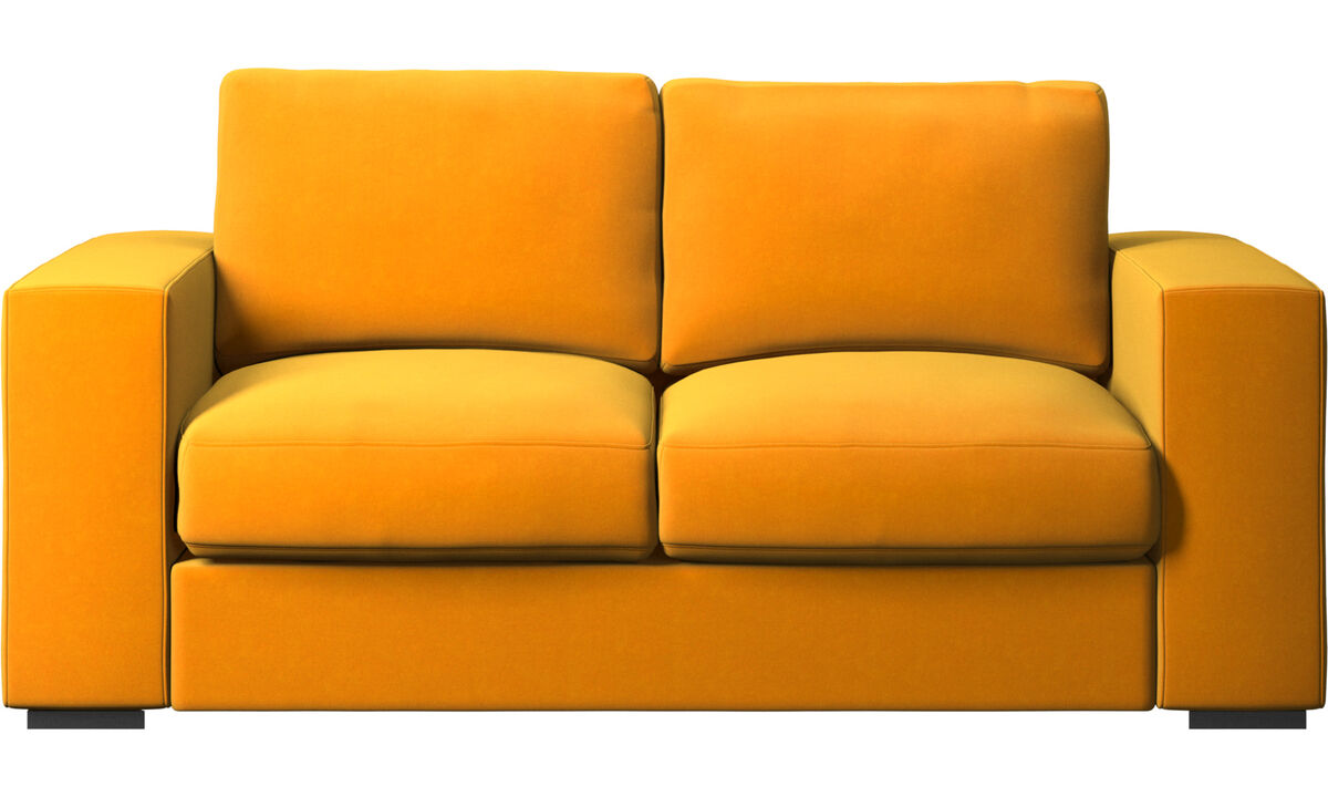 Sofás de 2 plazas - sofá Cenova - Naranja - Tela